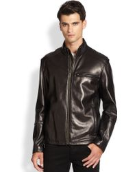 Cole Haan Lambskin Leather Moto Jacket - Lyst