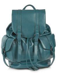 Topshop Clean Pocket Backpack  Teal - Lyst