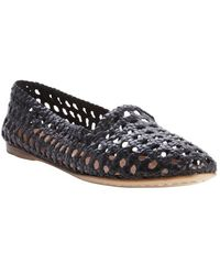 giraffe WALK - Black Basket Weave Perforated Leather 'Agra' Flats - Lyst