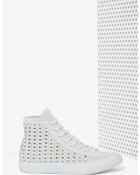 Nasty Gal Converse All Star High-Top Suede Sneaker - Woven Gray - Lyst