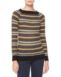 M Missoni Longsleeve Zigzag Knit Sweater - Lyst