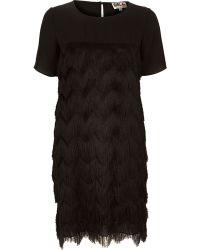 River Island Black Chelsea Girl Fringed Dress - Lyst