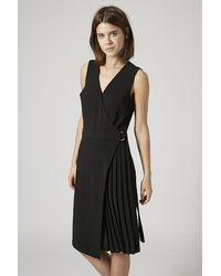 Topshop Pleated Wrap Midi Dress - Lyst