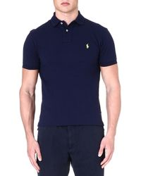 Ralph Lauren Slimfit Mesh Polo Shirt French Navy 1 - Lyst