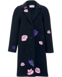 Christopher Kane Crombie Coat With Flower Stickers - Lyst
