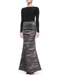 Nicole Miller Long-sleeve Combo Mermaid Gown - Lyst