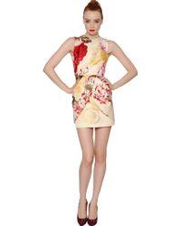 Blumarine Floral Printed Duchesse Dress - Lyst