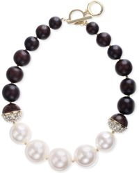 Anne Klein Glass Pearl and Crystal Collar Necklace - Lyst