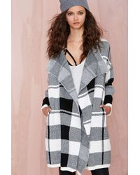 Nasty Gal Check On It Cardigan - Lyst