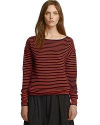Halston Heritage Ls Boat Neck Sheer Mini Stripe Sweater - Lyst