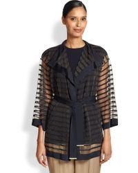 ESCADA Sheer Stripe Belted Cardigan - Lyst