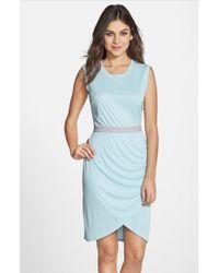 BCBGMAXAZRIA 'Mikela' Knit Sleeveless Faux Wrap Dress - Lyst