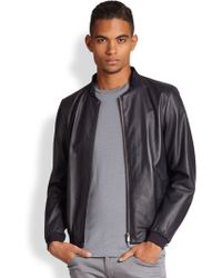 Armani Leather Motorcycle Jacket - Lyst