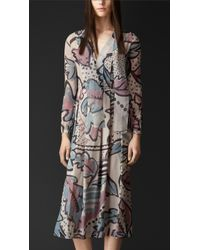 Burberry Floral Print Layered Silk Dress - Lyst
