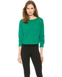 Philosophy - Cropped Pointelle Jumper - Green - Lyst