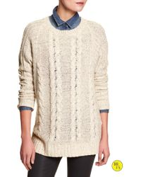 Banana Republic Factory Oversized Cable-Knit Sweater - Lyst