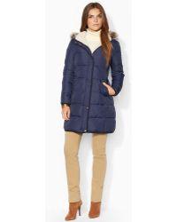 Lauren by Ralph Lauren Faux Fur Trim Quilted Jacket - Lyst