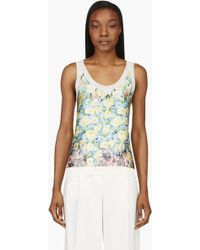 Nina Ricci Cream and Yellow Silk Floral Print Knit Tank Top - Lyst