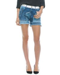 Goldsign Shine Relaxed Patchwork Denim Short in Charlene Wash - Lyst