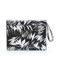 Jason Wu Black And White Leather 'Jourdan 2' Tropical Print Clutch black - Lyst