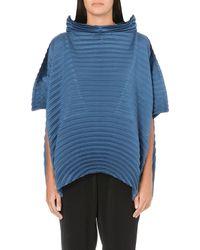 Issey Miyake Peaked Collar Pleated Top Blue - Lyst