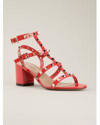 Valentino Red Rockstud Sandals - Lyst