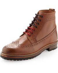 Ben Sherman Leather Wingtip Boots Tan - Lyst