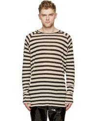 Haider Ackermann Black And Ecru Striped Ribbed Long Sleeve Shirt - Lyst