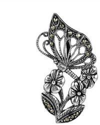 Aeravida - Morning Butterfly Flower Marcasite Sterling Silver Slide Pendant - Lyst