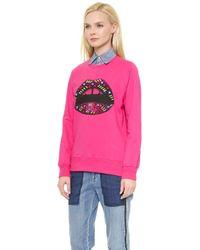 Markus Lupfer Jeweled Lip Sweatshirt - Azalea Pink - Lyst