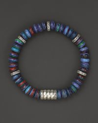 John Hardy Men'S Bedeg Beaded Bracelet With Rainbow Calsilica blue - Lyst