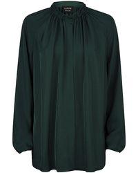 Lanvin Green Gathered Blouse - Lyst