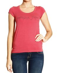 Patrizia Pepe Tshirt Short Sleeve Logo with Strass - Lyst