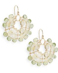 Eva Hanusova - Multigem Green Apatite, Opal & Yellow Quartz Web Drop Earrings/goldtone - Lyst