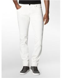 Calvin Klein Slim Fit Bone White Wash Jeans - Lyst