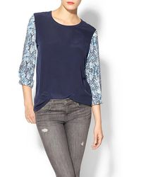Equipment Liam Silk Tee with Contrast Sleeves - Lyst