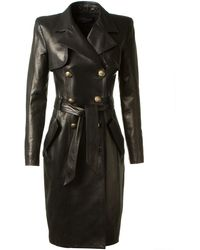 Balmain Long Black Leather Double Breasted Coat - Lyst