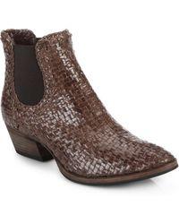 Aquatalia by Marvin K Desire Woven Leather Boots brown - Lyst