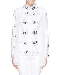 Anna K Eye Print Sheer Layer Poplin Shirt white - Lyst