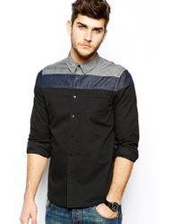 Asos Shirt with Cut and Sew Block Stripe in Long Sleeve - Lyst