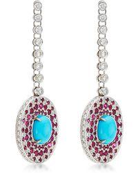 Abellan New York - Diamond, Ruby, Turquoise Earrings - Lyst