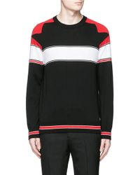 Givenchy | Intarsia Panel Cotton Sweater | Lyst