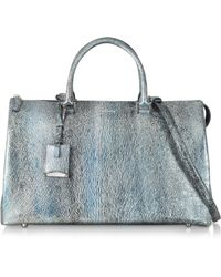 Jil Sander Large Jil Bag Silver and Blue Metallic Knitted Leather Satchel - Lyst