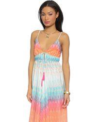 Charlie Jade - Drawstring Maxi Dress - Coral/blue - Lyst