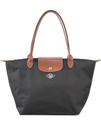Longchamp Le Pliage Monogrammed Lg Shoulder Tote Bag Classic Colors - Lyst