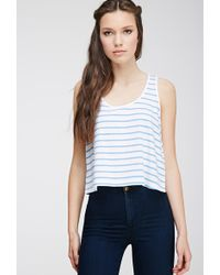Forever 21 Striped Cutout Top - Lyst