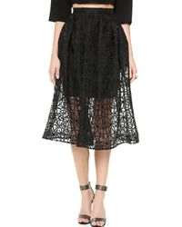 Nicholas Lace Mid Length Ball Skirt Black - Lyst