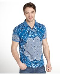 Etro Blue Paisley Print Cotton Pique Polo Shirt - Lyst