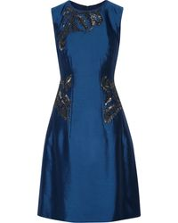 Lela Rose Embellished Wool And Silk-Blend Dress - Lyst