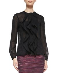 Nanette Lepore Rufflefront Sheer Patterned Blouse - Lyst